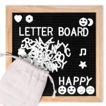 Letter Board,10x10 Inches, Changeable Letter Boards Include 680 White Plastic Letters, Symbols and Oak Frame, Farmhouse Felt Letterboard with Cursive Words, Letter Boards, Word Board, Message Board
