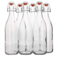 Flip Top Glass Bottle [1 Liter / 33 fl. oz.] [Pack of 6] – Swing Top Brewing Bottle with Stopper for Beverages, Oil, Vinegar, Kombucha, Beer, Water, Soda, Kefir – Airtight Lid & Leak Proof Cap – Clear