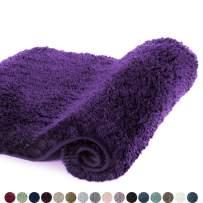 Walensee Bath Rug for Bathroom Non Slip Bathroom Mat Water Absorbent Soft Microfiber Shaggy Bathroom Rug Machine Washable Bath Mat for Bathroom Thick Plush Shower Mat (20 x 32, Dark Purple)