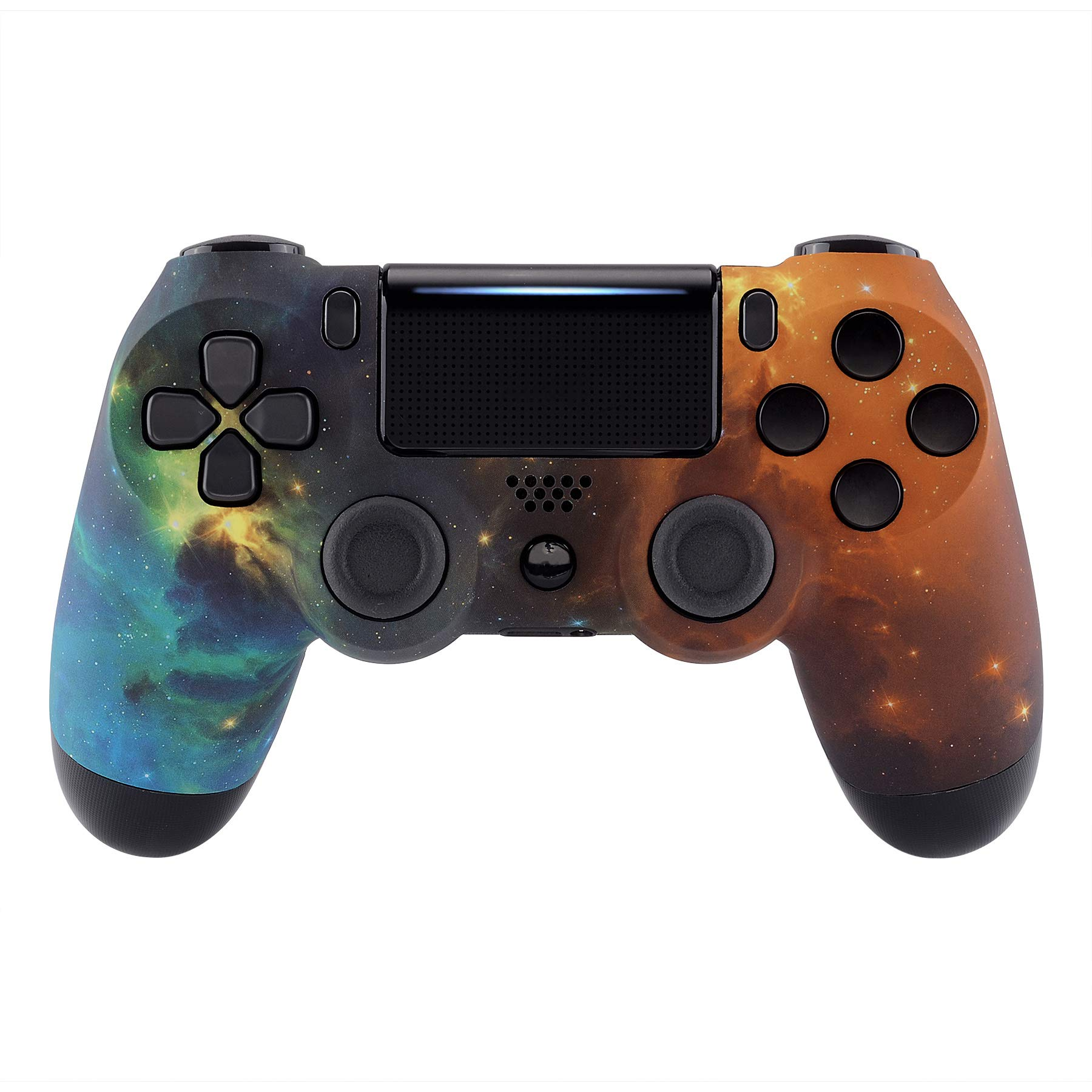 eXtremeRate Orange Star Universe Front Housing Shell Case, Soft Touch Faceplate Cover Replacement Kit for Playstation 4 PS4 Slim PS4 Pro Controller CUH-ZCT2 JDM-040/050/055 - Controller NOT Included