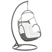Modway Arbor Wicker Rattan Outdoor Patio Porch Lounge Hanging Swing Chair Set with Stand in White
