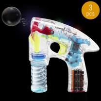 Lumistick LED Flashing Bubble Gun   Transparent Bubble Blowing Kids Parties Flash Light Blaster Machine with Refill Bottle (3 Guns)