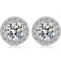 Han han Sparkling CZ Diamond Stud Earrings 925 Sterling Silver Cubic Zirconia Studs, Round Cut Bezel Halo Earrings 18K White Gold Plated Nickel-Free Hypoallergenic Studs Earrings for Women 3.5 carats