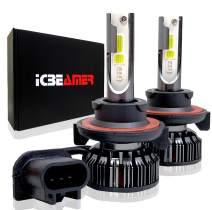 ICBEAMER H13 Hi/lo 7200lm COB LED RGB Headlight Daytime Running Light Replace Halogen Bulbs Control by Smartphone App