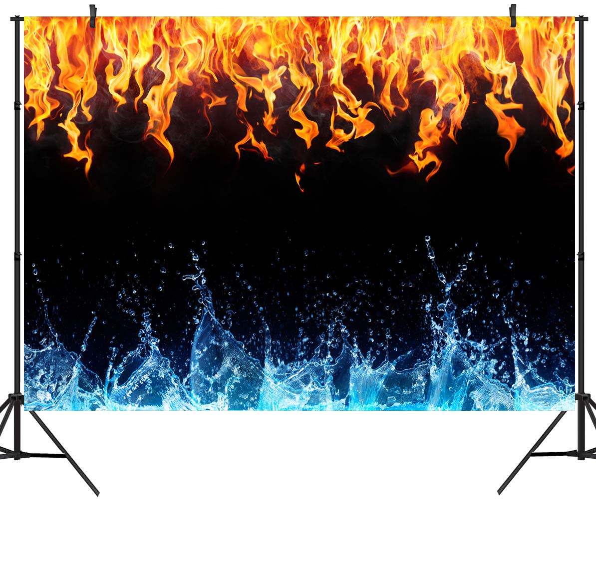 DULUDA 7X5FT Ice Fire Backdrop Artistic Blue Water Red Flame Vinyl Photograghy Background for Selfie Birthday Party Pictures Photo Studio Prop Booth Shoot FS25A