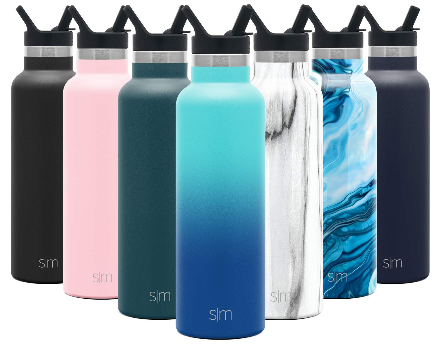 Simple Modern 20 Ounce Ascent Water Bottle with Straw Lid - Stainless Steel Hydro Thermos Tumbler - Double Wall Vacuum Insulated Reusable Metal Leakproof Ombre: Pacific Dream