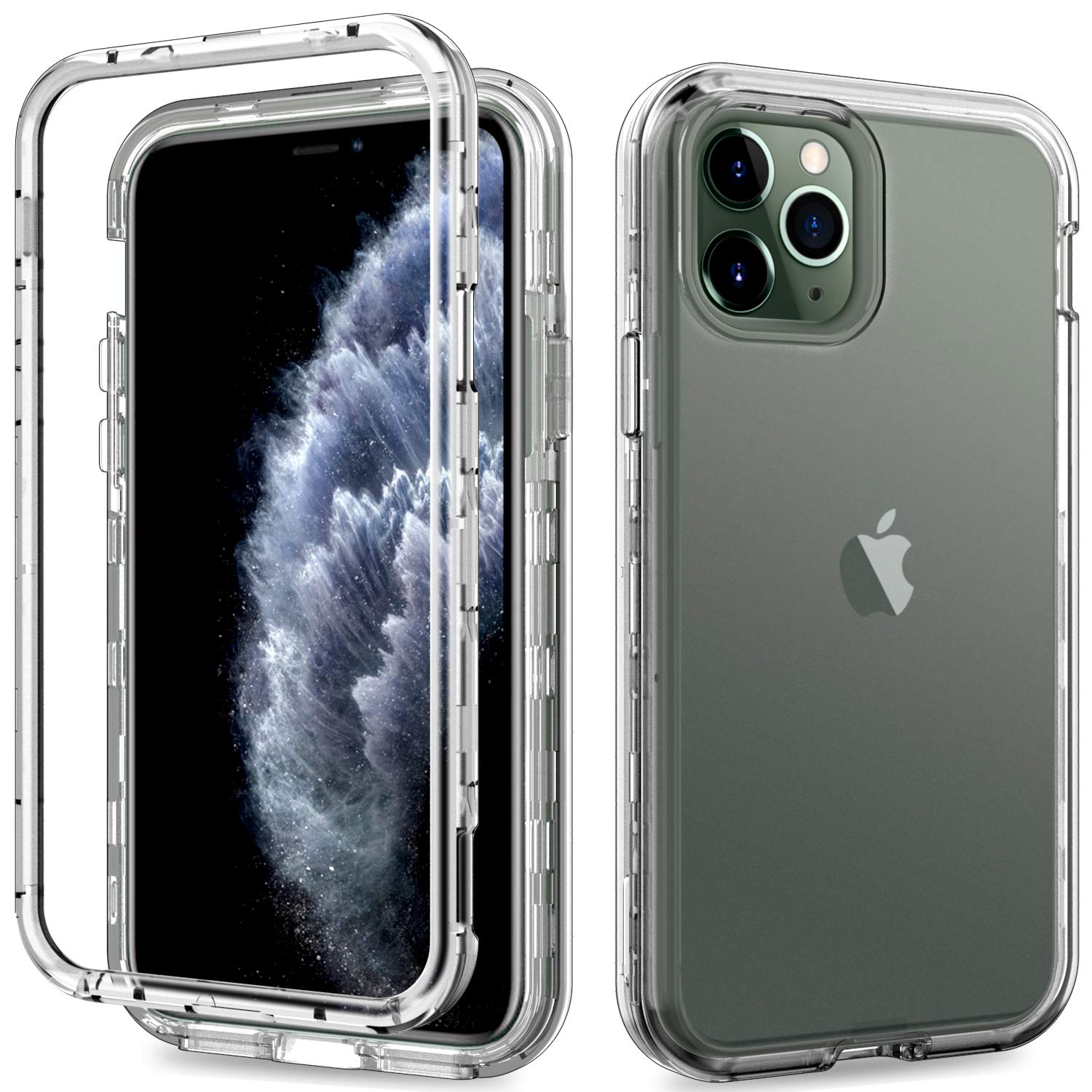ACKETBOX iPhone 11 Pro Case,Heavy Duty Hybrid Impact Defender Hard Clear PC Back Case and Bumper+Transparent TPU Cover Full Body Protective Cover for iPhone 11 Pro 5.8 Inch Release 2019 (Clear)