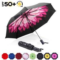 ABCCANOPY Umbrella Compact Rain&Wind Teflon Repellent Umbrellas Sun Protection with Black Glue Anti UV Coating Travel Auto Folding Umbrella, Blocking UV 99.98%,red flower
