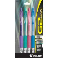 PILOT G2 Metallics Refillable & Retractable Rolling Ball Gel Pens, Fine Point, Assorted Color Inks, 4-Pack (34403)