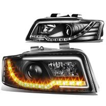Replacement for Audi A4 / A4 Quattro B6 Typ 8E Pair of Black Housing Projector Headlight + Amber LED DRL
