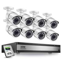 ZOSI H.265+ 1080p Security Camera System 16 Channel, Hybrid DVR with Hard Drive 4TB and 8 x 1080p CCTV Bullet Camera Outdoor/Indoor with 100ft Long Night Vision and 105°Wide Angle,Remote Access