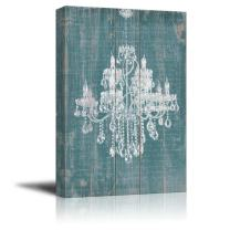"""wall26 Canvas Wll Art - Whte Chandelier Painted on Rustic Wood Texture Background - Giclee Print and Stretched Ready to Hang - 16""""x24"""""""