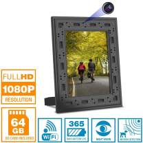 NuCam Yieye WiFi Photo Frame Hidden Spy Camera for Home/Office Security & Pet/Kid Surveillance w. 1080P HD, 365 Days Battery Life, Night Vision & Instant Alerts(Bonus 64GB SD Card Included)