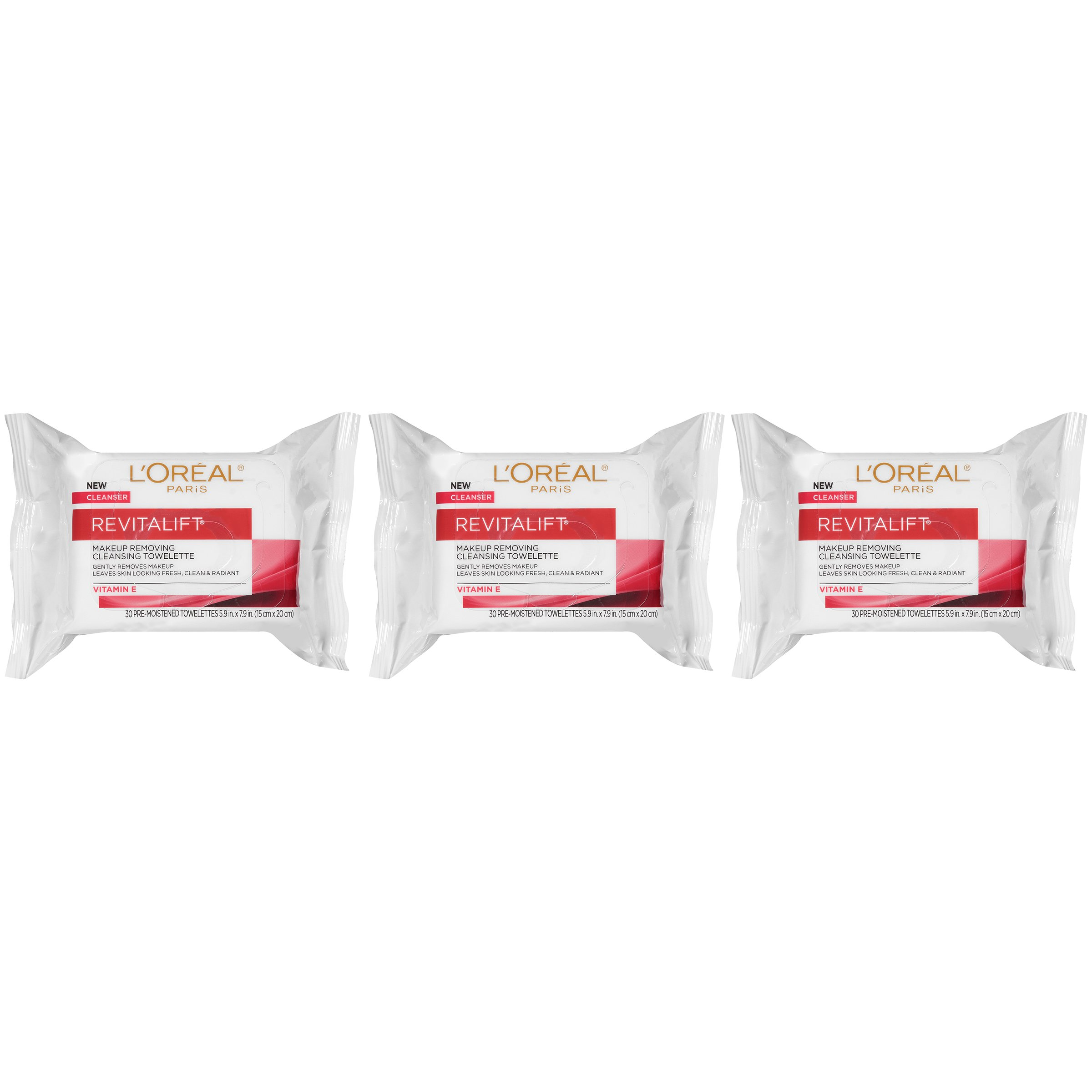 L'Oreal Paris Revitalift Makeup Removing Wipes with Vitamin E, Face Cleansing Towelettes, 30 Count, Pack of 3