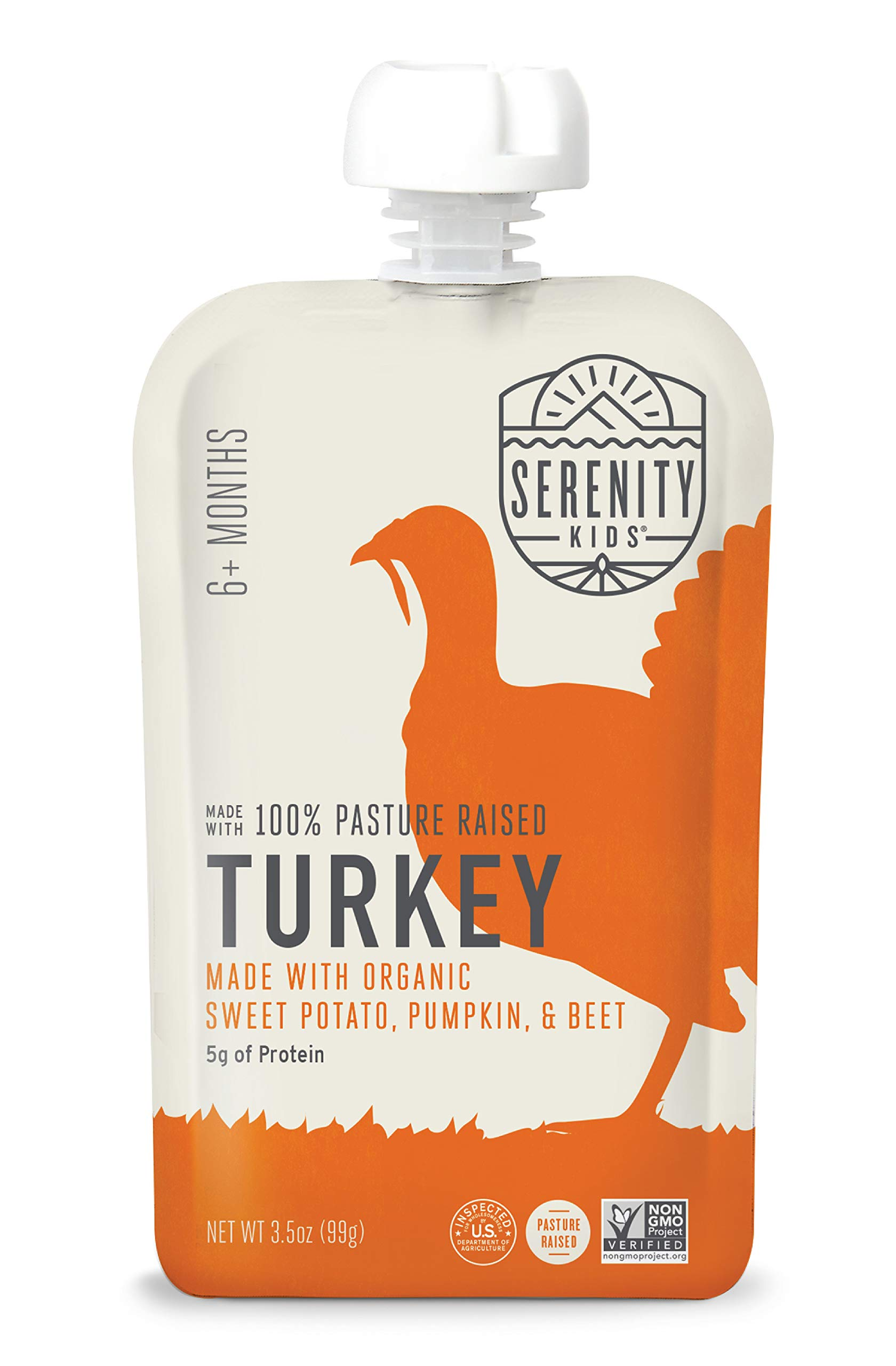 Serenity Kids Baby Food, Pasture Raised Turkey with Organic Sweet Potato, Pumpkin and Beet, For 6+ Months, 3.5 Ounce Pouch (12 Count)
