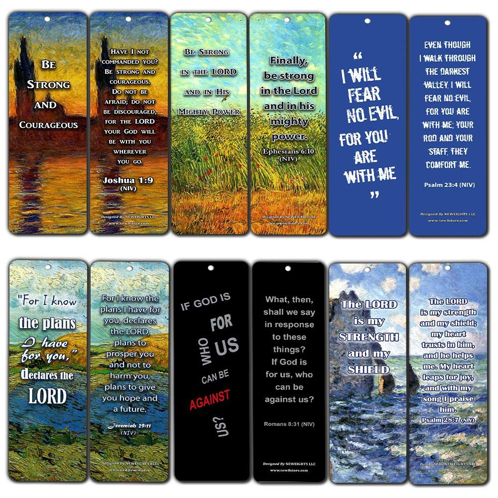 Christian Inspirational Bookmarks Cards - Be Strong NIV (60-Pack) - Stocking Stuffers for Baptism Youth Group Cell Group VBS Bible Study Mission Trip - Best Church Supplies Sunday School Rewards