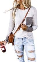 BLENCOT Women's Crewneck Long Sleeve Boho Patchwork Casual Soft Blouses Shirts Tops