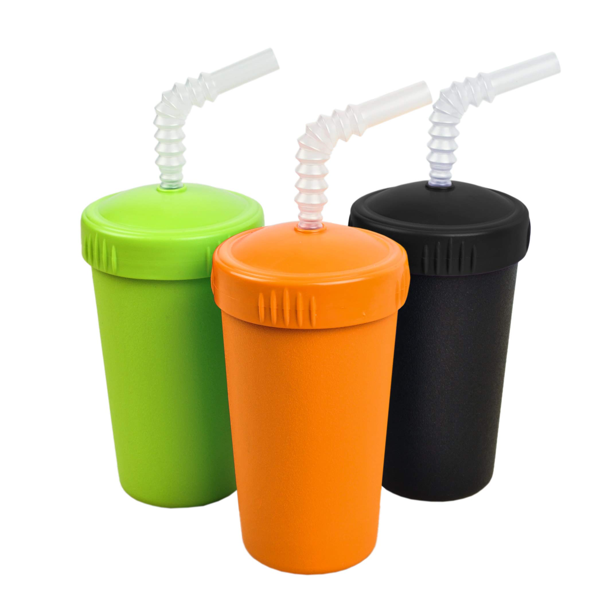 Re-Play Made in USA 3pk Straw Cups with Reversable Straw for Easy Baby, Toddler, Child Feeding - Orange, Black, Lime (Halloween)
