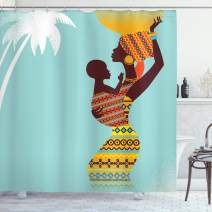 """Ambesonne African Shower Curtain, Mother with Her Baby in Clothes Retro Style Fashion Image, Cloth Fabric Bathroom Decor Set with Hooks, 84"""" Long Extra, Turquoise Marigold"""