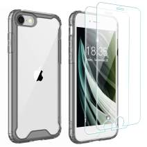 Singdo iPhone SE 2020 Case,iPhone 7/8 Case,with [2 xTempered Glass Screen Protector] Premium Clear Soft TPU + Hard PC Ultra-Clear Anti-Scratch Anti-Yellow Case for iPhone SE 2020/7/8 4.7 inch Black
