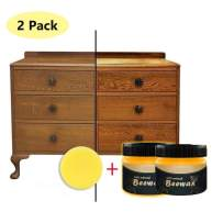 2Pcs Wood Seasoning Beeswax - Traditional Beeswax Polish for Wood & Furniture, All-Purpose Beeswax for Wood Cleaner and Polish Wipes - Non Toxic for Furniture to Beautify & Protect, No Build-Up