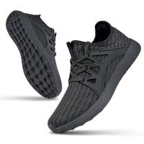Guteidee Mens Non Slip Sneakers Breathable Mesh Sport Running Walking Gym Lightweight Road Running Shoes Grey Size 10.5