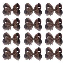 """Sacarla 5"""" Hand-made Grosgrain Ribbon Hair Bow Alligator Clips Hair Accessories for 20 Colors Available"""