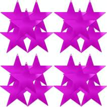 UNIQOOO 20Pcs Metallic Purple Foil Star Cutouts Bulk, Thick Paper Cardboard Pre-Punched Hole, for Kids Birthday Party Favors Banner Garland Backdrop Decor, Classroom Bulletin Board Craft, 9 Inch