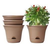 T4U 9.5 Inch Self Watering Planter Pot Set of 4 Long-Term Water Storage Plant Pot Deep Reservoir Planter Pot Container for House Plants, Flowers, Herbs, Succulents Home Decoration (Brown)