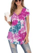 AMCLOS Womens Tie-Dye Tops V Neck Soft T-Shirts Flowy Pleats Tunic Button up Casual Blouses Summer Short Sleeve