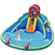 BOUNTECH Inflatable Water Park, 18 x 17 x 9.5 FT Mighty Bounce House w/ Large Splash Pool, Climbing Wall, 2 Slides & Water Cannon, Including Carry Bag, Repair Kit, Stake, Hose (Without Blower)