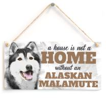 """Meijiafei A House is Not A Home Without an Alaskan Malamute - Cute Alaskan Malamute Dog Sign/Plaque for Alaskan Malamute Gifts 10""""x5"""""""