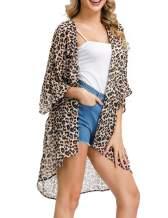 Kate Kasin Women's Chiffon Loose Kimono Cardigan Swimsuit Cover UPS Plus Size
