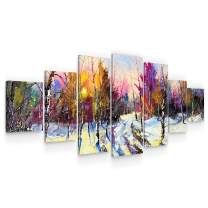 Startonight Large Canvas Wall Art Nature - Winter Landscape, Colorful Nature - Huge Framed Modern Set of 7 Panels 40 x 95 Inches