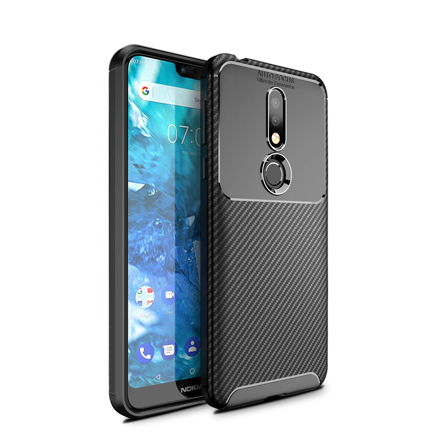 Olixar for Nokia 7.1 Carbon Fiber Case - Slim Cover TPU Non-Slip - Thin Protective Cover - Shockproof Bumper Drop Protection - Wireless Charging Compatible - Black