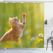 "Ambesonne Cat Shower Curtain, Animal Theme Cat Hunting a Ladybug Nature Grass Dandelions Digital Print, Cloth Fabric Bathroom Decor Set with Hooks, 70"" Long, Yellow Green"