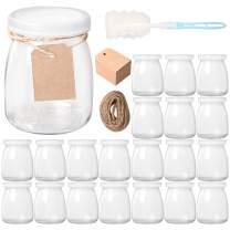 Comrzor 20 Pack 7 oz Yogurt Jars with PE Lids, Smooth Glass Pudding Jars Yogurt Jars Ideal for Jam, Honey, Baby Foods, Wedding Favors, Shower Favors(Strings, Tags & Sponge Brush Included)