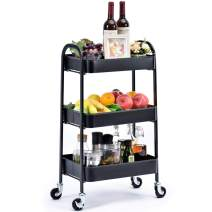 KINGRACK 3 Tier Rolling Cart,No Screw Metal Utility Cart,Easy Assemble Utility Serving Cart,Sturdy Storage Trolley with Handles, Locking Wheels, for Kitchen Garage Home Bedroom Bathroom, Black