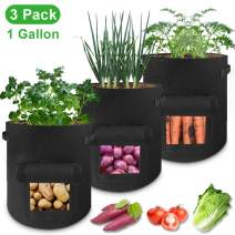 Grow Bags 1 Gallon - 3 Pack Potato Grow Bags Two SidesVelcro Window Vegetable Grow Bags, Double Layer Premium Breathable Nonwoven Cloth for Potato/Plant Container/Aeration Fabric Pots with Handles