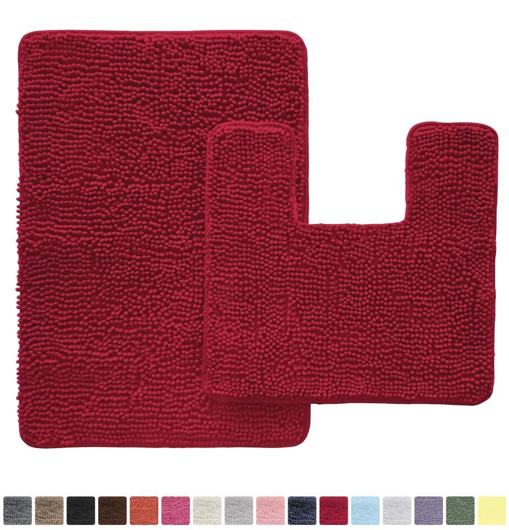 Gorilla Grip Original Shaggy Chenille 2 Piece Area Rug Set, Includes Square U-Shape Contoured Toilet Mat & 30x20 Bathroom Rugs, Machine Wash/Dry Mats, Soft, Plush Rugs for Tub Shower & Bath Room, Red