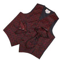 Red patteren Dress Vest Formal Vest for Wedding Gift Set Match Tuxedo Vests ,cufflinks, hanky and Ascot Tie for Tuxedo Y&G VS2026-L Large Red