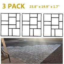 Topeakmart 3PCS Concrete Paving Stepping Stone Mold Path Walk Maker Paver Walk Way, Rectangular Patterns with 10 Grid, 23.8 x 19.9 x 1.7 in, Black