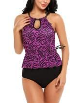Avidlove 2 Piece Swimwear for Women Tankini Contrast Color Swimsuits Bathing Suit