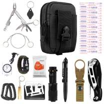 FUNANASUN Emergency Survival Kit, Outdoor Survival Gear Tool Pouch Holster with Fire Starter, Survival Bracelet, Emergency Blanket, Tactical Pen, Water Bottle Clip for Adventure, Camping