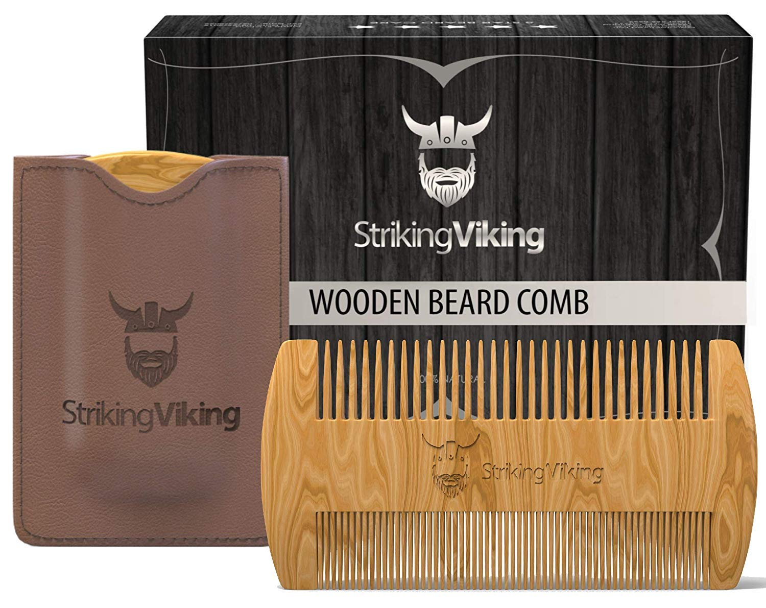 Striking Viking Wooden Beard Comb & Carry Case - Premium Sandalwood Beard Comb with Dual Sided Fine & Coarse Teeth - Pocket Sized & Anti-Static Real Wood Comb for Every Day Use