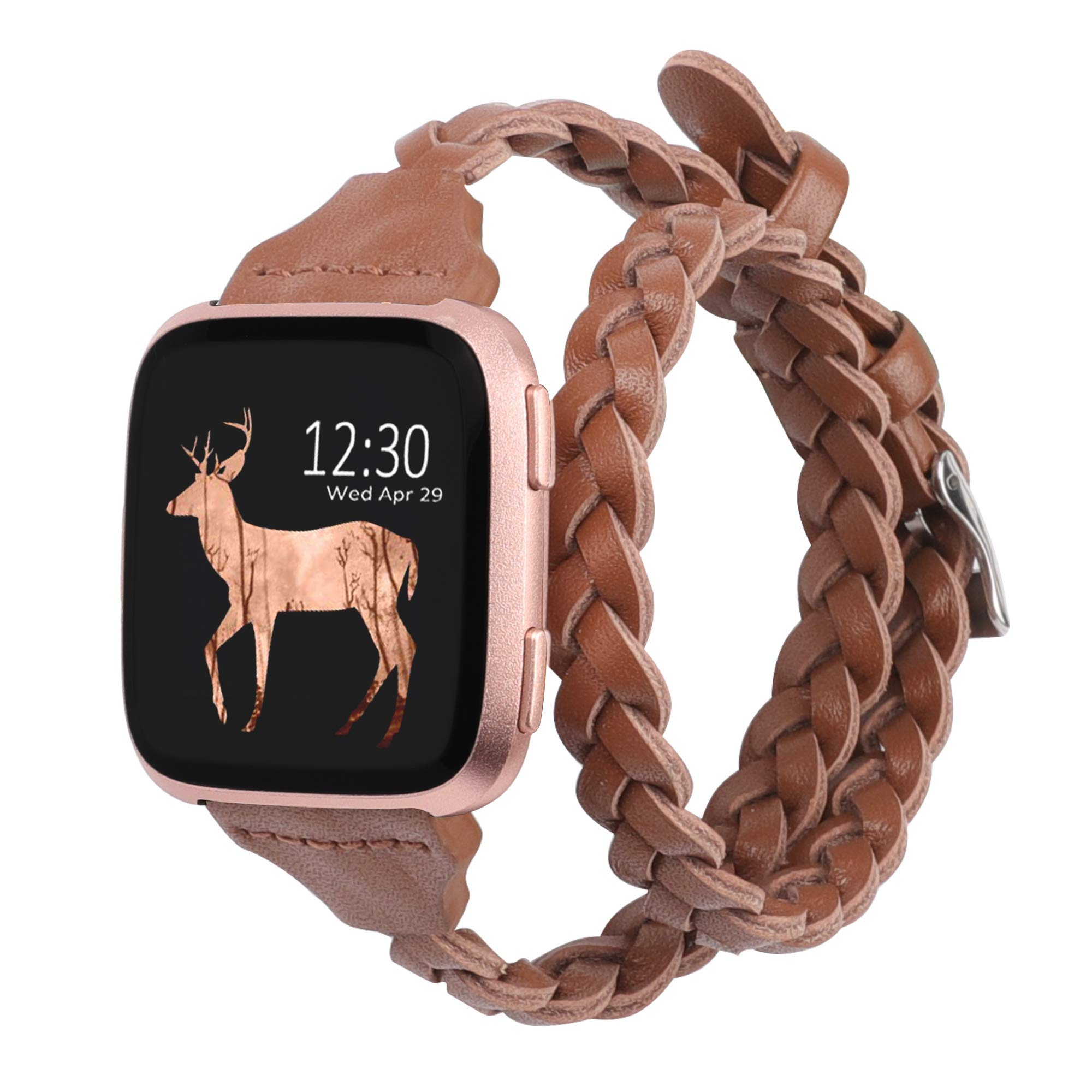 Glebo Bands Compatible for Compatible with Fitbit Versa 2/Versa/Versa Lite Edition,Slim Leather Double Wrap Around Bands Strap Replacement Wristband Bracelet Straps for Fitbit
