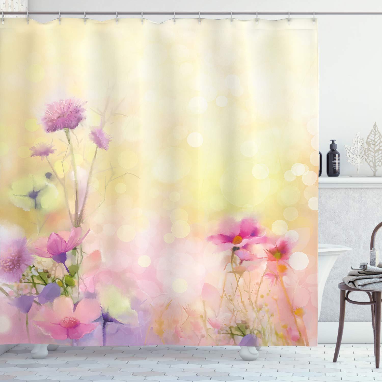 "Ambesonne Flower Shower Curtain, Vintage Soft Colored Feminine Magnolia Blooms Whorls Motif Artwork Print, Cloth Fabric Bathroom Decor Set with Hooks, 70"" Long, Pink Yellow"