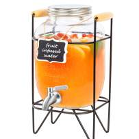 1 Gallon Glass Beverage Dispenser with Metal Stand, 18/8 Stainless Steel Spigot and Hanging Chalkboard - Vtopmart Drink Dispenser For Lemonade, Cold Water, Iced Tea, Kombucha and More
