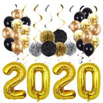 MEYSIMOON Gold 2020 Balloons Kit for New Year Eve Party Supplies Gold and Black Balloons Paper pom poms and Hanging Swirls 2020 Graduation Party Decorations, Pack of 49
