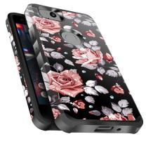 Google Pixel 2 Case Shockproof, Miss Arts Slim Anti-Scratch Protective Kit with [Drop Protection] Heavy Duty Dual Layer Hybrid Sturdy Armor Cover Case for Google Pixel 2 -Rose Gold Flower/Black